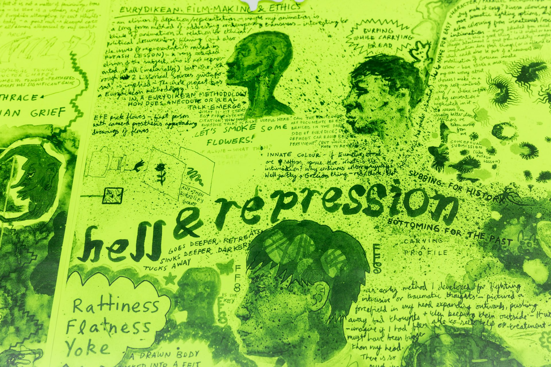 """Flourescent yellow paper inscribed with handrawn texts of different styles and scales. """"hell & repression"""" is writen across the centre of the image, and is surrounded with ornately handpainted profiles of human heads."""