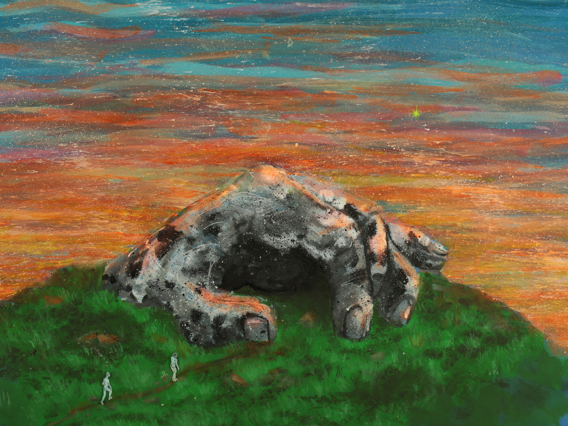A pastel drawing of a grassy hill summit at sunset. The sky undulates from top to bottom: dark blue, light blue, red, purple, orange and yellow. A yellow star glitters in the distance. In the foreground, the stony summit of the hill seems to form into the shape of a half-clenched human fist, with a darkened cave opening appearing in the centre of the rock. Two tiny human figures appear to approach the hilltop, walking in the direction of the cave opening.